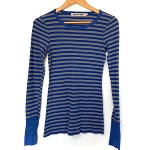 Michael Stars OS striped waffle thermal long top